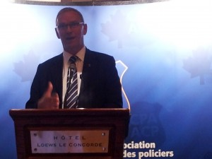 Claus Redder Madsen of Danish Police Union addressed delegates at Canadian Police Association Annual General Meeting in Quebec City, Canada September 7, 2012 about learning, sharing & staying safe locally and globally for police officers